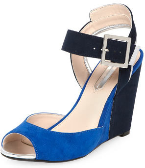 Dorothy Perkins Navy colourblock wedges