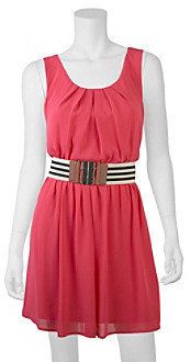 Amy Byer A Byer A. Byer Pleated Neck Belted Dress