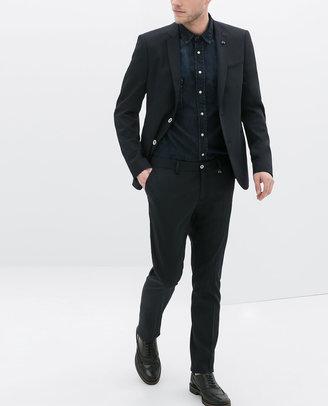 Zara Navy Blue Technical Suit