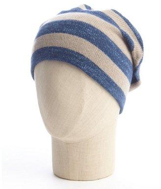 Portolano tan and blue striped cashmere hat