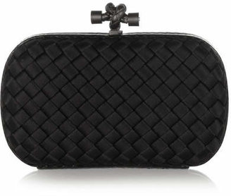 Bottega Veneta - The Knot Watersnake-trimmed Intrecciato Satin Clutch - Black $1,580 thestylecure.com