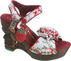 Irregular Choice Oriento Sun So (Women's) - White Suede/Patent Leather