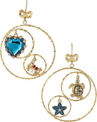 Betsey Johnson Sea Jewels Turtle Heart Hoop Earring