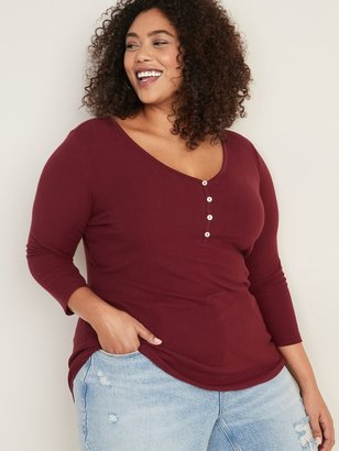 Old Navy Slim-Fit Rib-Knit Plus-Size Henley Tee
