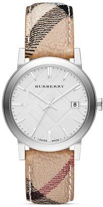 Burberry Haymarket Check Round Strap Round Watch, 38mm