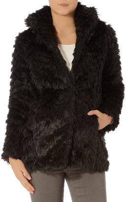 Dorothy Perkins Black textured long fur coat