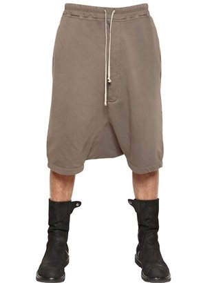 Rick Owens Cotton Fleece Jogging Low Crotch Shorts