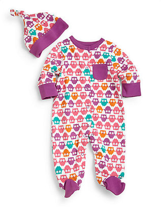 Offspring Infant's Two-Piece Owl Print Footie and Beanie Set
