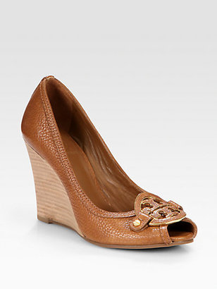 Tory Burch Amanda Leather Logo Peep Toe Wedge Pumps
