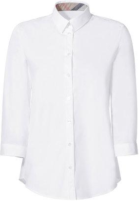 Burberry White/Beat 3/4 Sleeve Cotton-Stretch Shirt