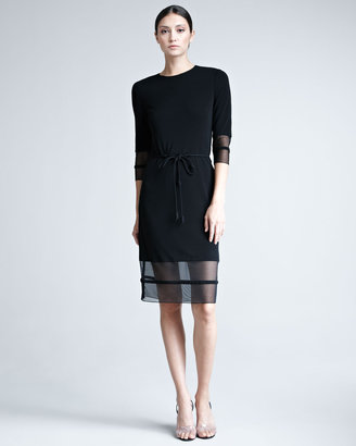 Ralph Rucci Mesh-Trim Jersey Dress