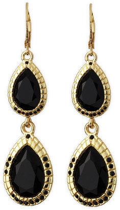 Fragments for Neiman Marcus Two-Tier Teardrop Earrings, Jet