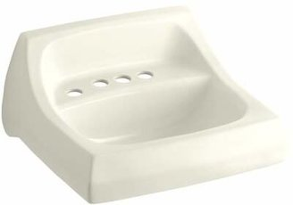 "Kohler Kingston Ceramic 22"" Wall Mount Bathroom Sink with Overflow Sink Finish: Biscuit"