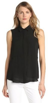 Theory Women's Duria Silk Georgette Sleeveless Blouse