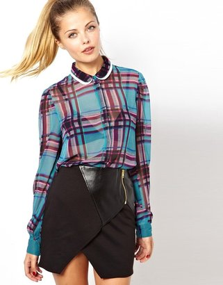 Asos Blouse with Double Collar in Pretty Check Print