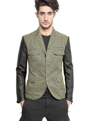 Neil Barrett Vintage Cotton Canvas & Leather Jacket