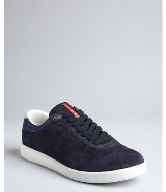 Prada Sport blue suede lace-up sneakers