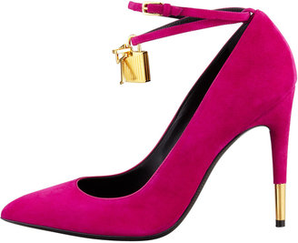Tom Ford Padlock Ankle-Wrap Suede Pump