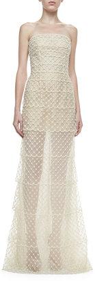 Oscar de la Renta Strapless Beaded Organza Gown, Ivory
