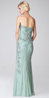 Mignon Beaded Strapless Sweetheart Lace Applique Evening Dresses