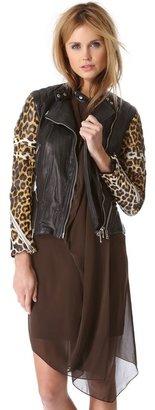3.1 Phillip Lim Peplum Moto Jacket with Leopard Sleeves