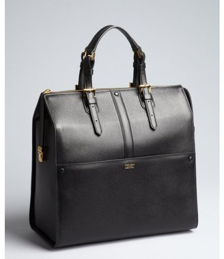 Giorgio Armani black grained leather buckled large top handle satchel