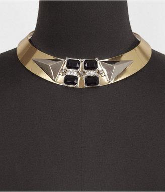 Express Pyramid Stud And Rhinestone Collar Necklace