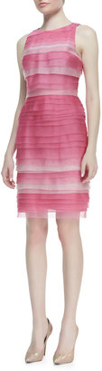 Kay Unger New York Sleeveless Multi-Tiered Ombré Cocktail Dress, Pink