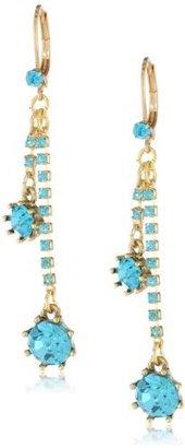 """Betsey Johnson Iconic Stone"""" Blue Gem Linear Drop Earrings"""