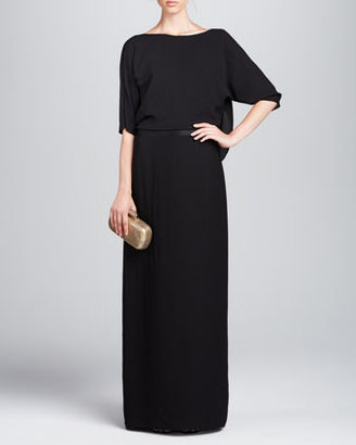 Halston Half-Sleeve Draped-Back Gown