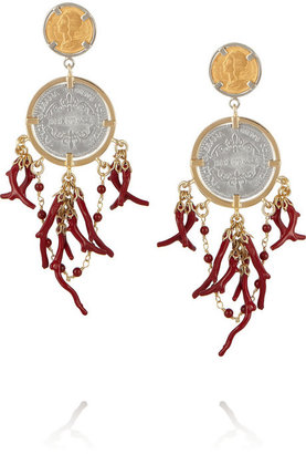 Dolce & Gabbana Gold-plated coin and faux coral clip earrings