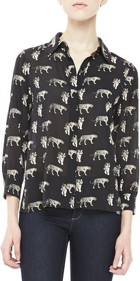 Alice + Olivia Willa Tiger-Print Blouse
