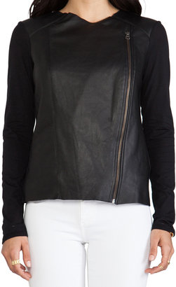 Michael Stars Colorblcok Collection Long Sleeve Leather Zip Front Motorcycle Jacket