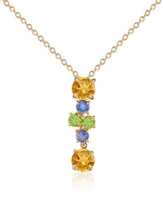 Forzieri Multicolor Gemstone 18K Gold Pendant Necklace