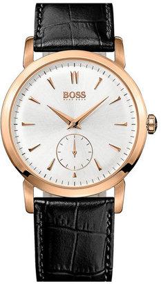 BOSS HUGO Round Leather Strap Watch, 40mm