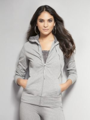 New York & Co. Leopard-Lined Hoodie with Shirring