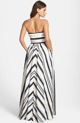 Adrianna Papell Ribbon Stripe Strapless Dress
