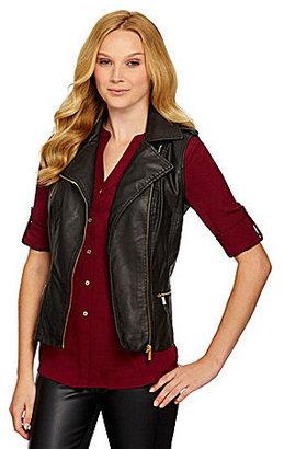 Calvin Klein Faux-Leather Moto Vest