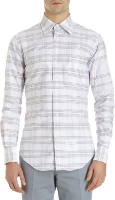 Thom Browne Striped Patched Sleeve Check Plaid Shirt