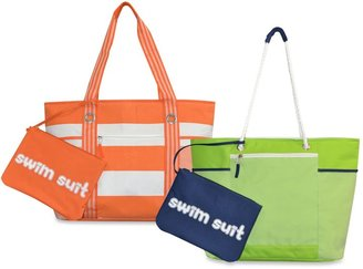 Cabana Striped Beach Tote with Wet Suit Pouch $19.99 thestylecure.com