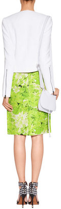 Tibi Lime Green Silk-Linen Skirt