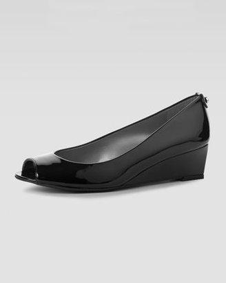 Stuart Weitzman Logosavoir Patent Peep-Toe Wedge, Black
