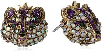 "Betsey Johnson Imperial Princess"" Fox Stud Earrings"