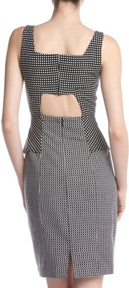 Muse Cutout Back Mix-Print Peplum Dress