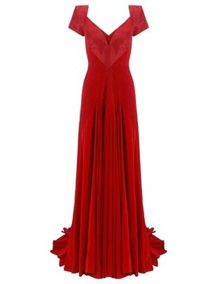 Zac Posen Tuscan Red Silk Pleat Gown