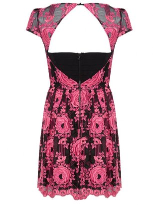 Alice + Olivia Chantil Embroidered Cap Sleeve Party Dress