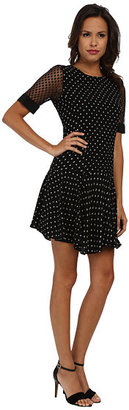 Rebecca Taylor Short Sleeve Dotty Dress With Lace Sleeve