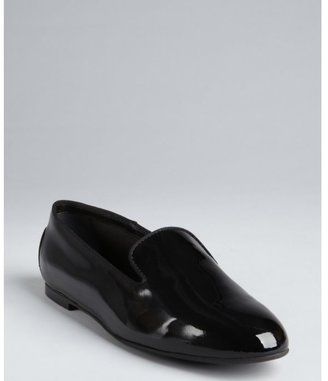 Tod's black patent leather grosgrain trimmed loafers