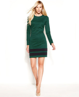 MICHAEL Michael Kors Long-Sleeve Printed Colorblocked Shift Dress