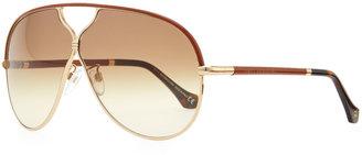 Balenciaga Leather Aviator Sunglasses, Rose Golden/Brown